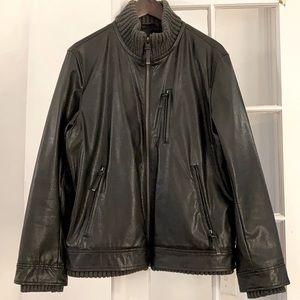 Vince Camuto Faux Leather Bomber w/Ribbed Trim